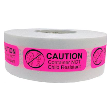 Label: Caution Container Not Child Resistant