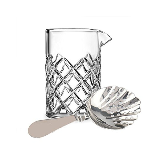 Combo:  Premier Mixers Mixing Glass + Vintage Julep Strainer