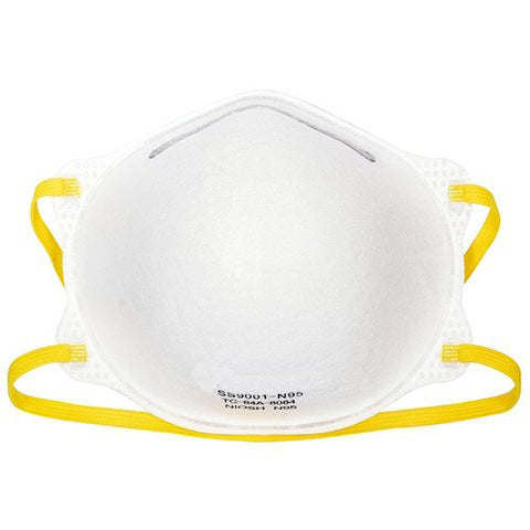 NIOSH Certified N95 Respirator Face Mask, Pre-Formed Cone, Box of 20