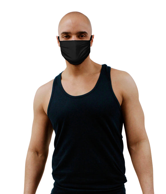 Black Cotton Knit Face Mask 3 Layer