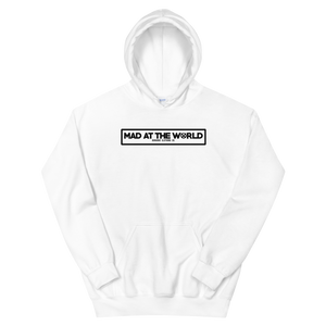 "Open image in slideshow, ""Mad At The World"" Boxed Logo Hoodie"