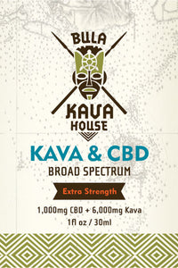 Tincture of 1,000 mg. CBD with 6,000 mg. Kava