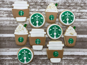 Custom Cookies Frappe Starbucks Inspired Coffee Cups Logos Birthday Party Favors  Cookie Love you a latte
