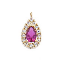 Load image into Gallery viewer, Gold Necklaces with pink/clear rosette and zircon