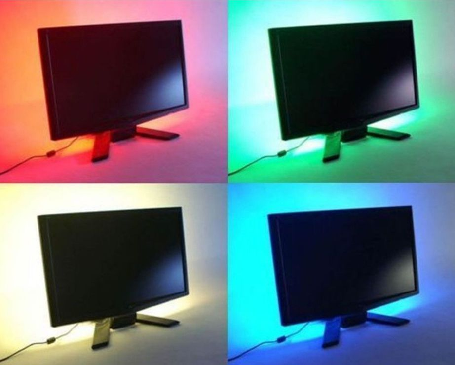 USB Powered Multi Colours RGB 0.5m 50cm Colour Changing LED Strip Light LED TV Background Lighting Kit