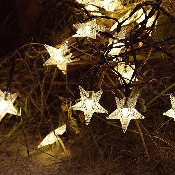 Mains Powered plug in 10M 100LED Warm White Star Shaped fairy light