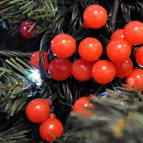 20LED 3m Battery Powered Weatherproof Red Holly Berry Ball Fairy Lights