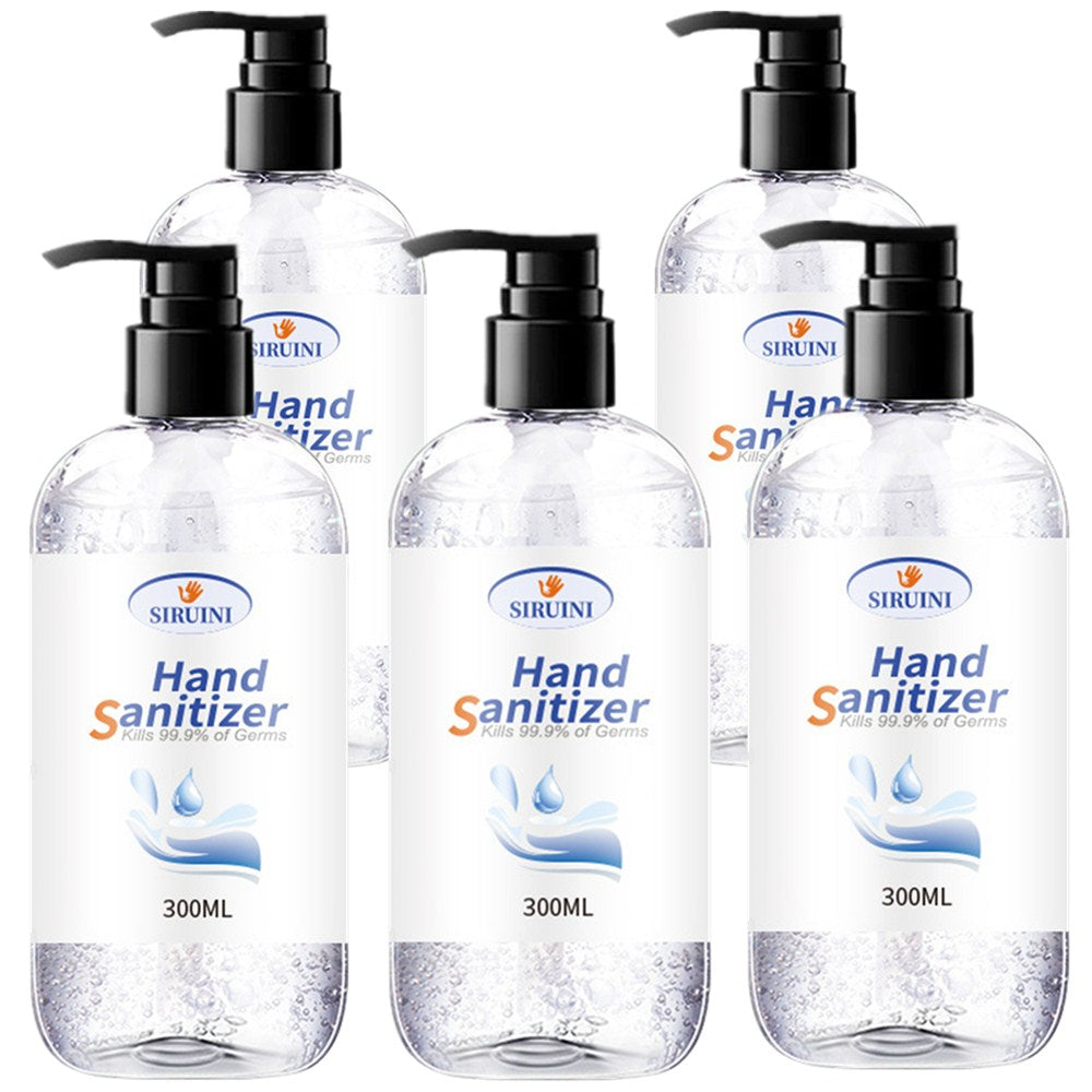 5x Bottles of Hand Sanitiser Gel 300ml Pump Head Family Bottle 75% Alcohol Antibacterial Disinfectant