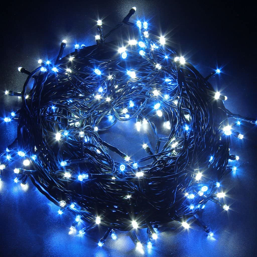 Waterproof Outdoor 300/500LED Christmas String Fairy Lights Alternate Blue and White