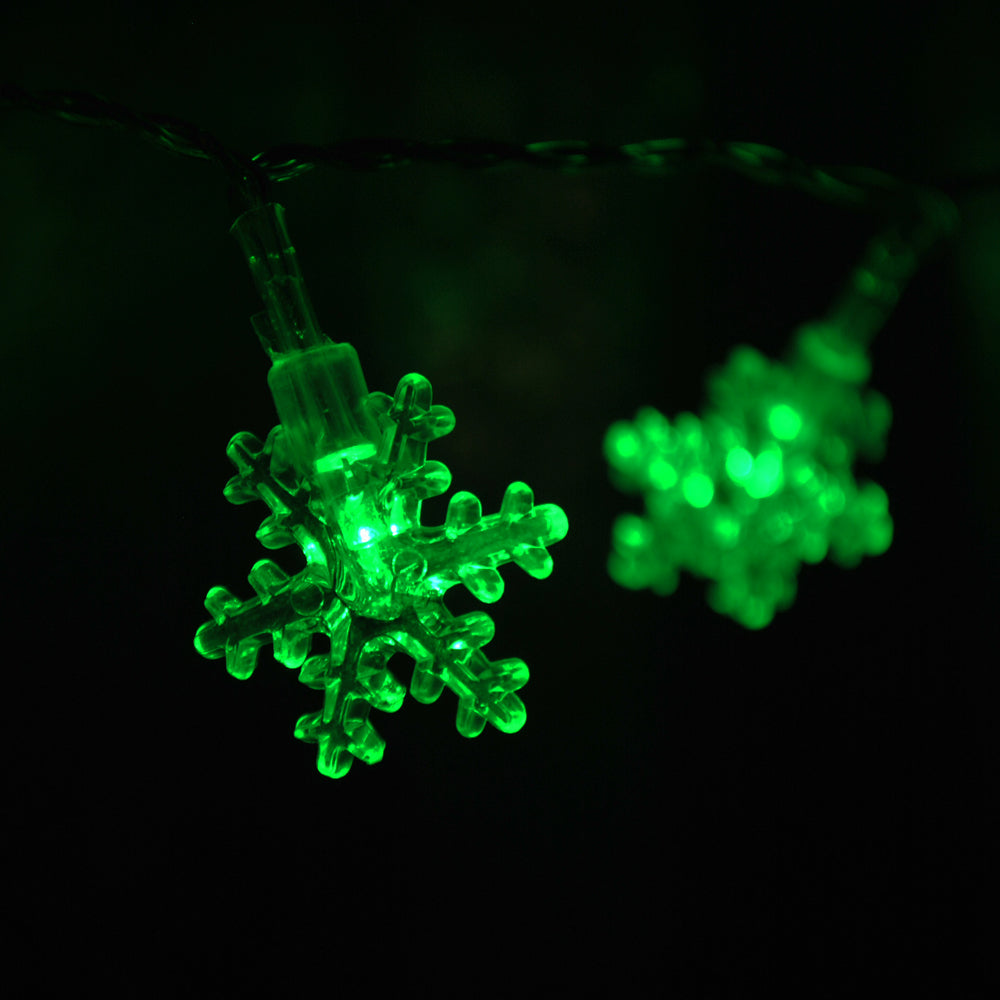 USB Powered 20 LED 2M Green Snowflake Shape Indoor LED Fairy Lights
