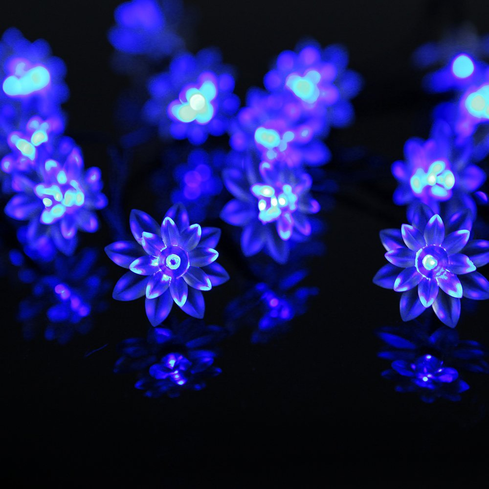 Battery Powered Blue Double Layer Lotus Fairy Lights-20/40 lights