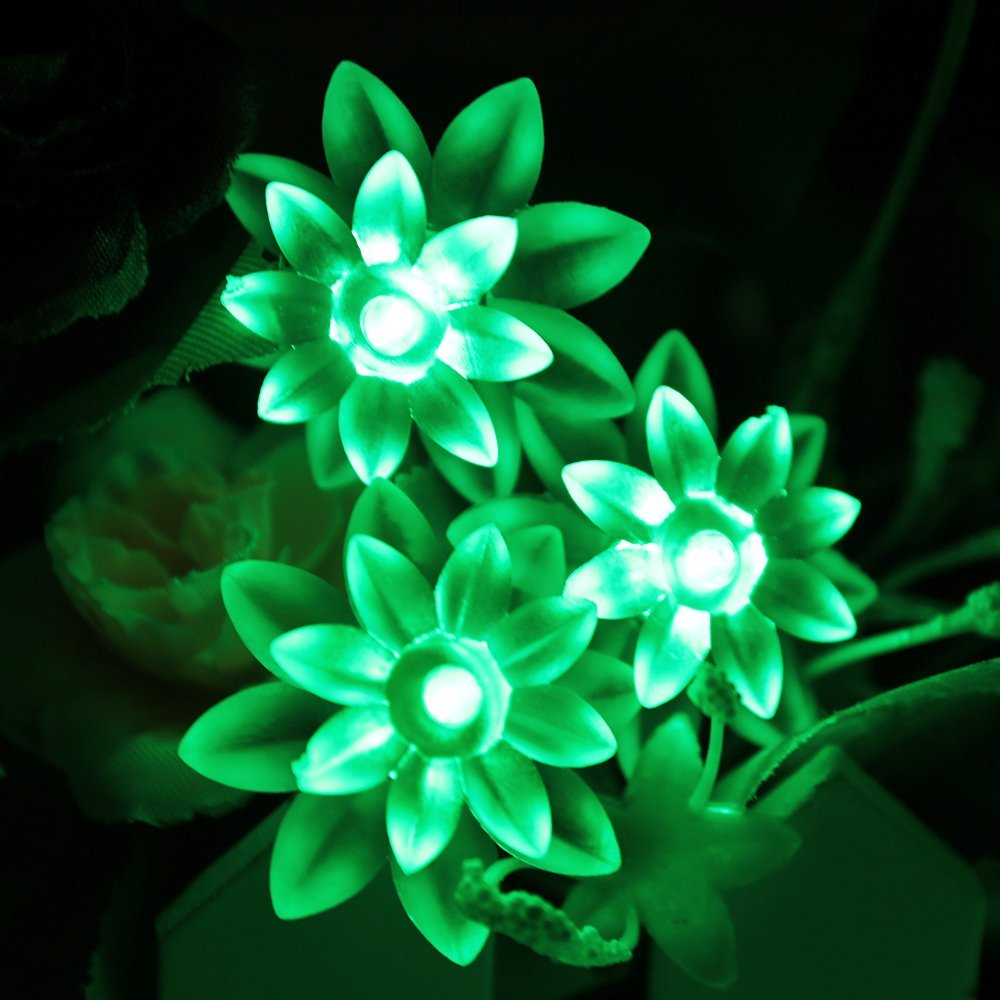 Battery Powered Green Double Layer Lotus Fairy Lights-20/40 lights
