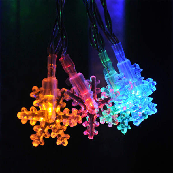 Multi Colour Snowflake USB Powered LED String Fairy Lights 5M 50LED - ON/Off/Flash Functions