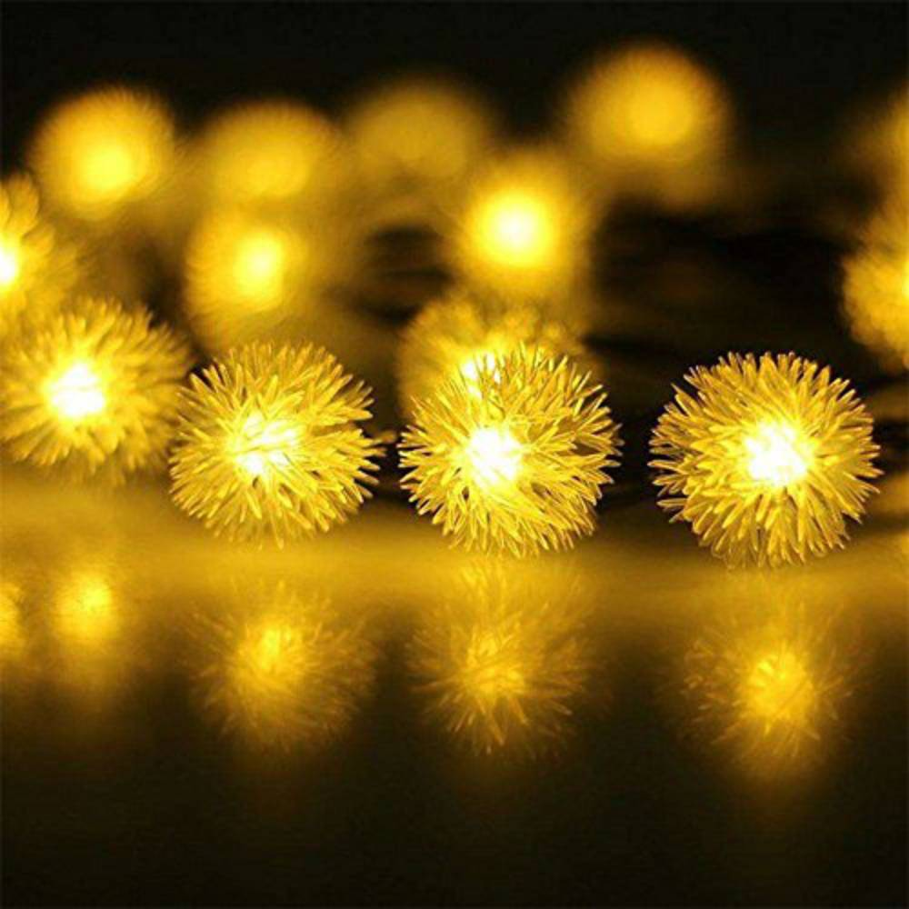 Mains Powered Snowball Fairy Lights Outdoor Indoor LED Fairy Lights 100 LEDs 10m Warm White