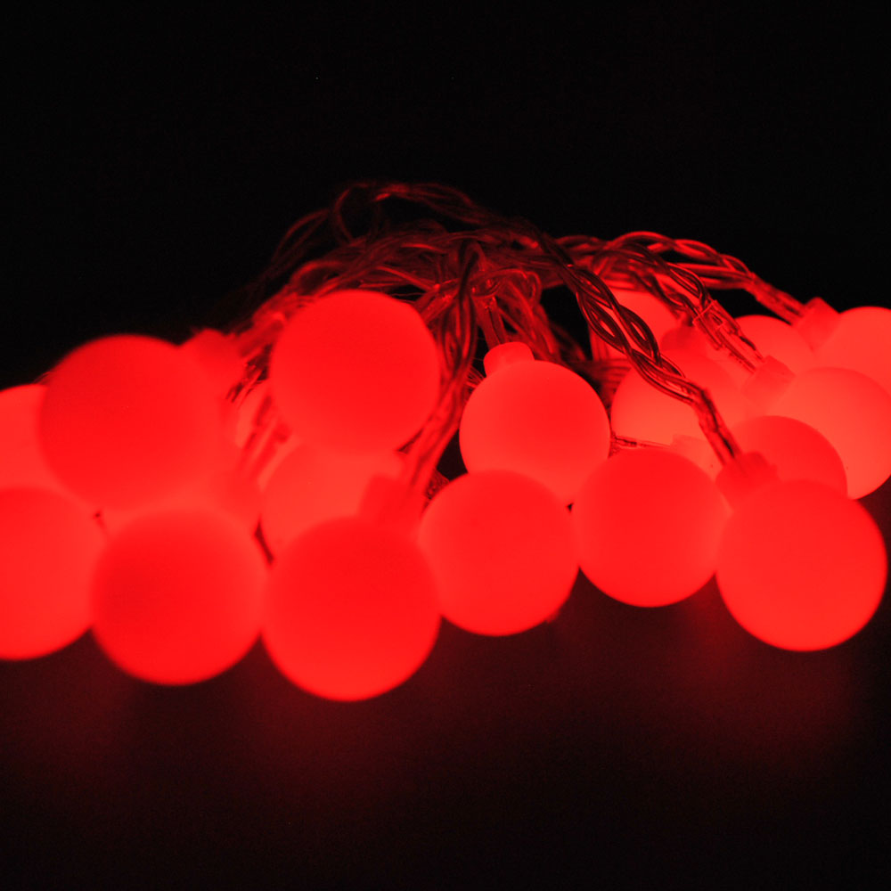Battery Powered Red Berry Ball LED Fairy Lights