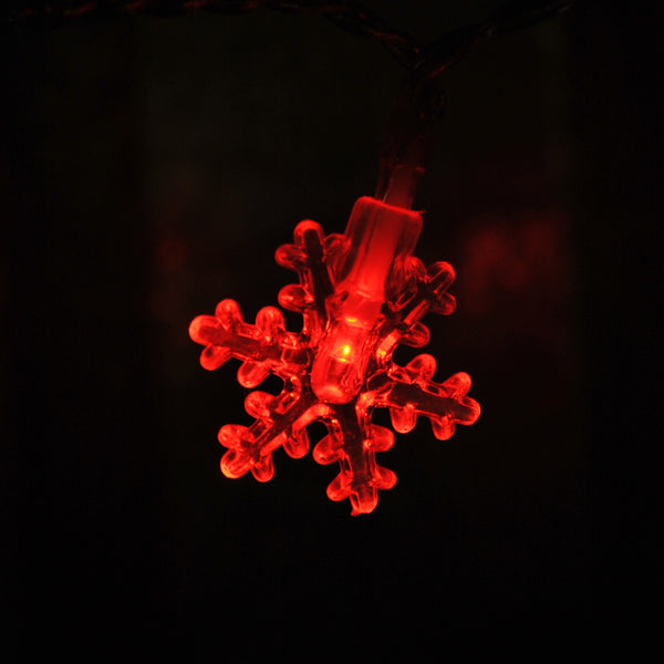 USB Powered 20 LED 2M Red Snowflake Shape Indoor LED Fairy Lights