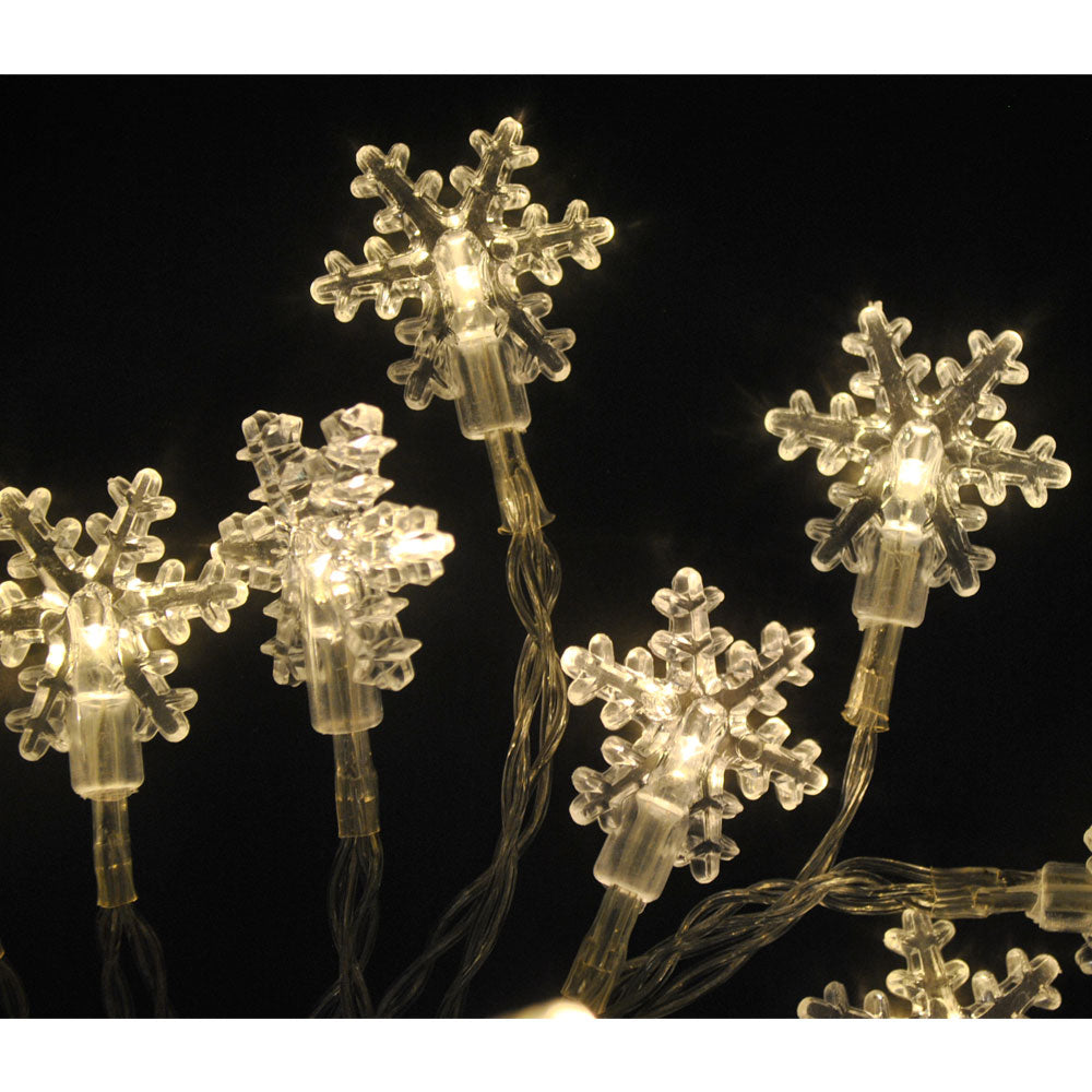 Battery Powered Snowflake Shape Indoor Warm White LED Fairy Lights