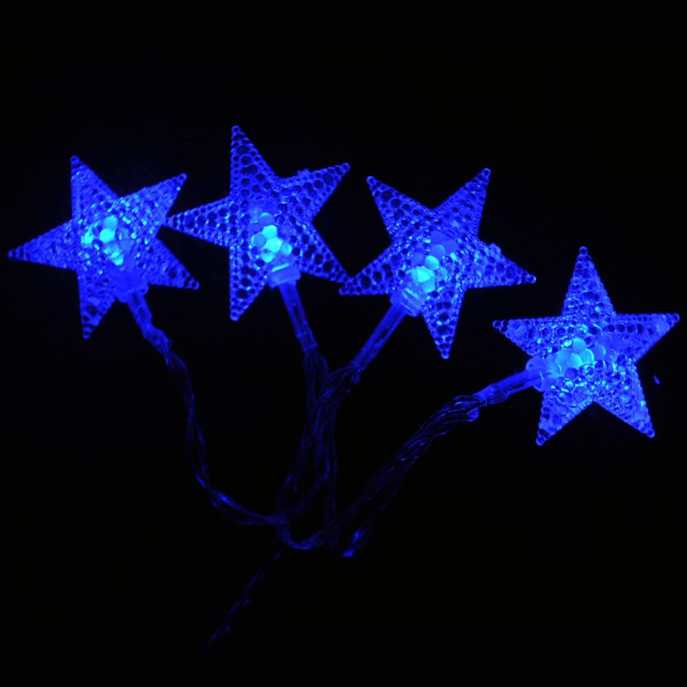 20LED 2 metres USB Powered Blue LED Star Shaped Fairy Lights