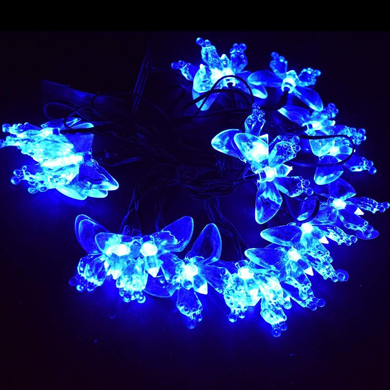 Mains Powered 10M 100LEDs Blue Butterfly Fairy Lights