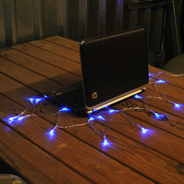 USB Powered 20LED 2metres Blue LED String Fairy Lights