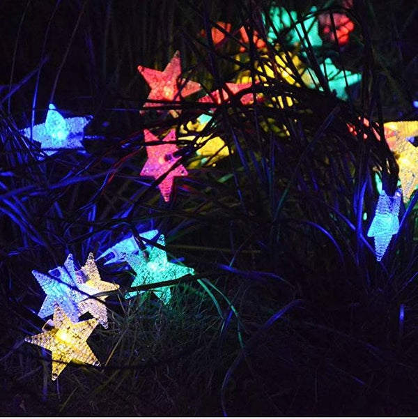 Mains Powered plug in 10M 100LED Multi Colour Star Shaped fairy light