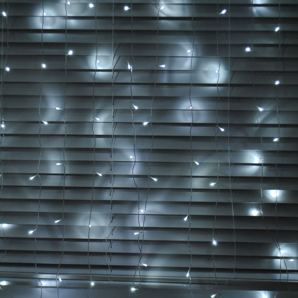 200/300LED Mains Powered Cool White 2x2/3x3m Curtain Fairy Lights