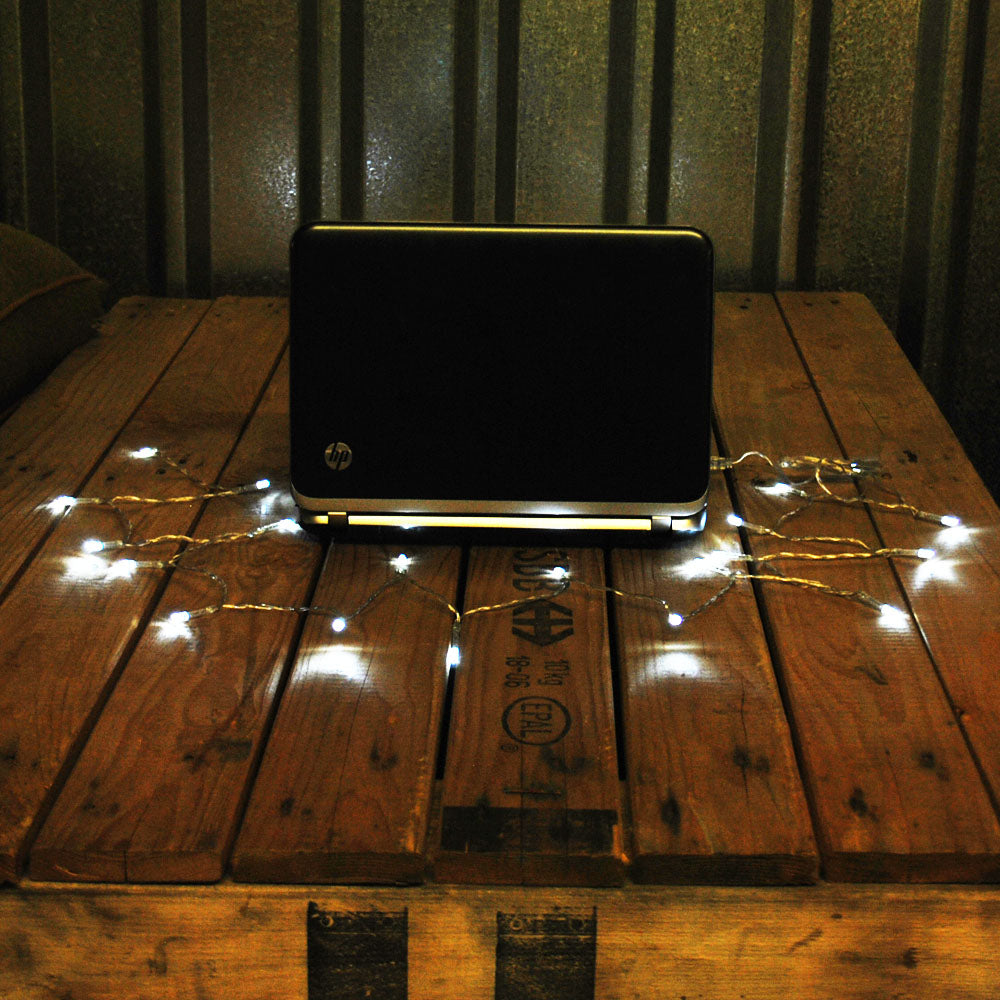 USB Powered 20LED 2metres Cool White LED String Fairy Lights