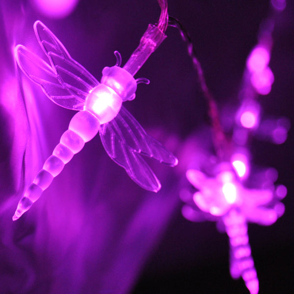 Battery Powered Dragonfly 20/40LED Pink Fairy String Lights