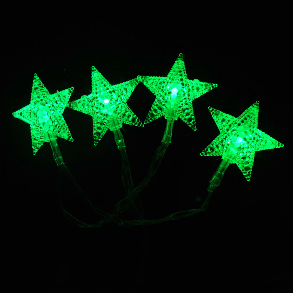 Battery Powered Green Stars Shaped LED Fairy Lights