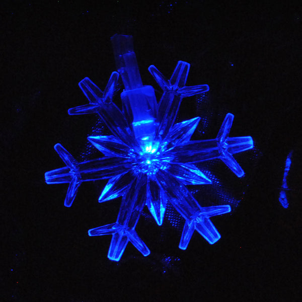 Kids Safe Low Voltage Waterproof Snowflakes Christmas Fairy Lights 10M 100LED Blue Colour