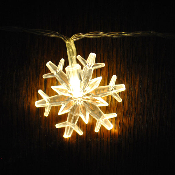Warm White Snowflake USB Powered LED String Fairy Lights 5M 50LED - ON/Off/Flash Functions