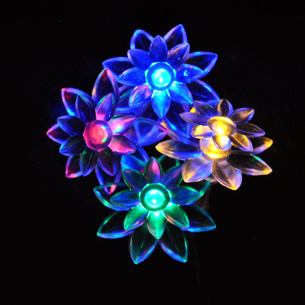 Battery Powered Multi Colour Double Layer Lotus Fairy Lights-20/40 lights