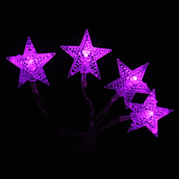 Battery Powered Pink Stars Shaped LED Fairy Lights