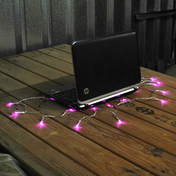 USB Powered 20LED 2metres Pink LED String Fairy Lights