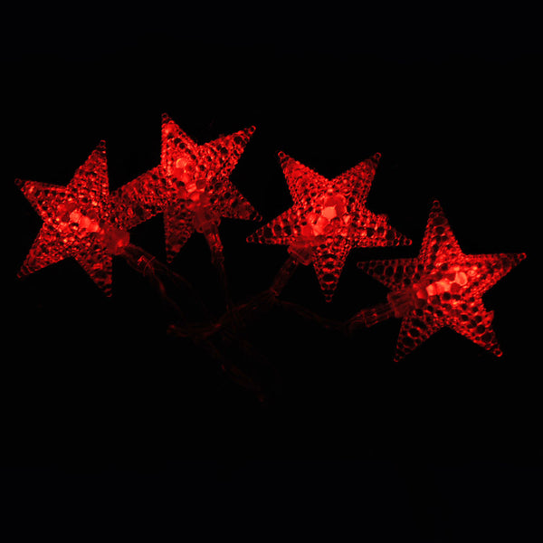 Battery Powered Red Stars Shaped LED Fairy Lights