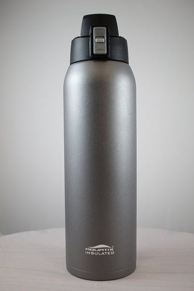 Dark Grey 32 oz Powder Coated Thermal Double Insulated Vacuum Sealed Sports Bottle Flip Top