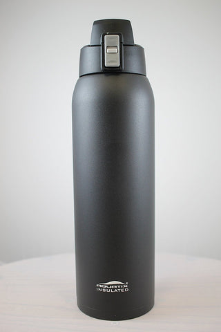 Black 32 oz Powder Coated Thermal Double Insulated Vacuum Sealed Sports Bottle Flip Top
