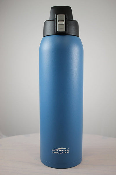 Dark Blue 32 oz Powder Coated Thermal Double Insulated Vacuum Sealed Sports Bottle Flip Top