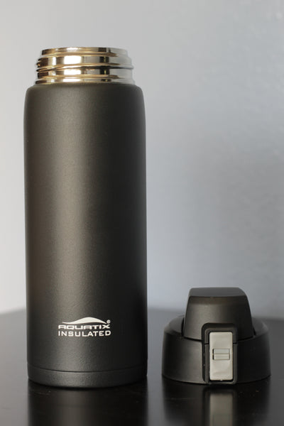 Black 21 oz Powder Coated Thermal Double Insulated Vacuum Sealed Sports Bottle Flip Top