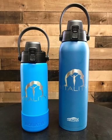 21 & 32 ounce - Vitality Yoga Laser Engraved Sport Bottle