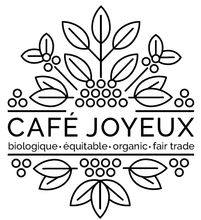 "Load image into Gallery viewer, Cafe Joyeuxs black and white logo ""biologique, equitable, organic, fair trade"""