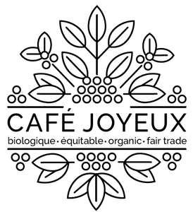 "Cafe Joyeuxs black and white logo ""biologique, equitable, organic, fair trade"""