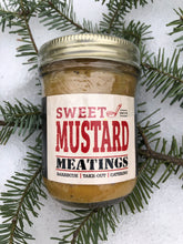 "Load image into Gallery viewer, jar of ""sweet mustard"" laying on spruce branch on snow"