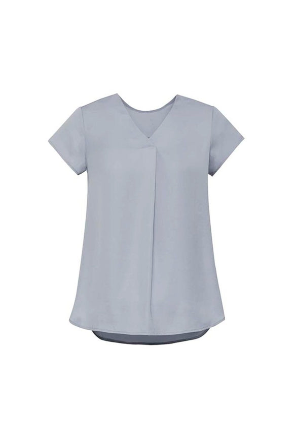 Womens Kayla V-neck Pleat Blouse