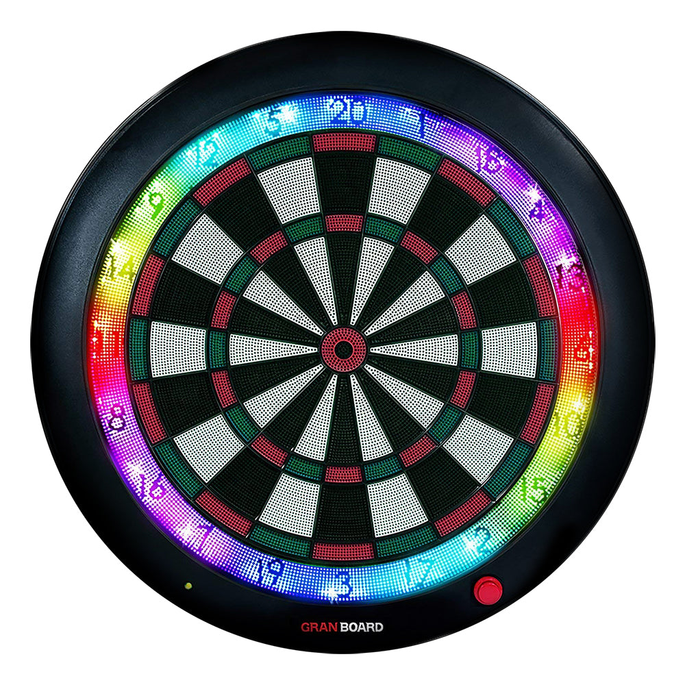 Granboard 3S LED soft tip dartboard for home use that easily links to smartphone. Green color pictured here. グランボード3s