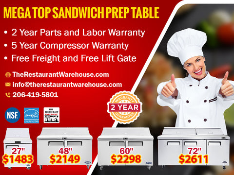 Mega Top Sandwich Prep Table