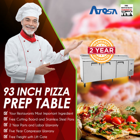 Atosa 93 inch Refrigerated Pizza Prep Table