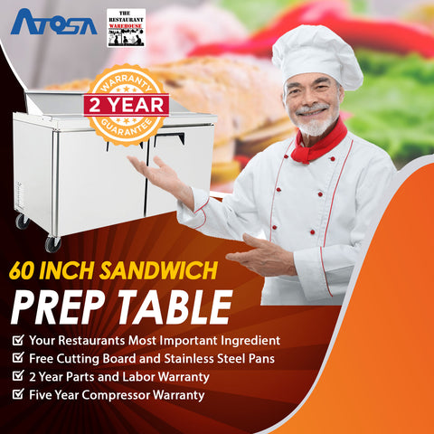 Atosa 60 inch Sandwich Prep Table