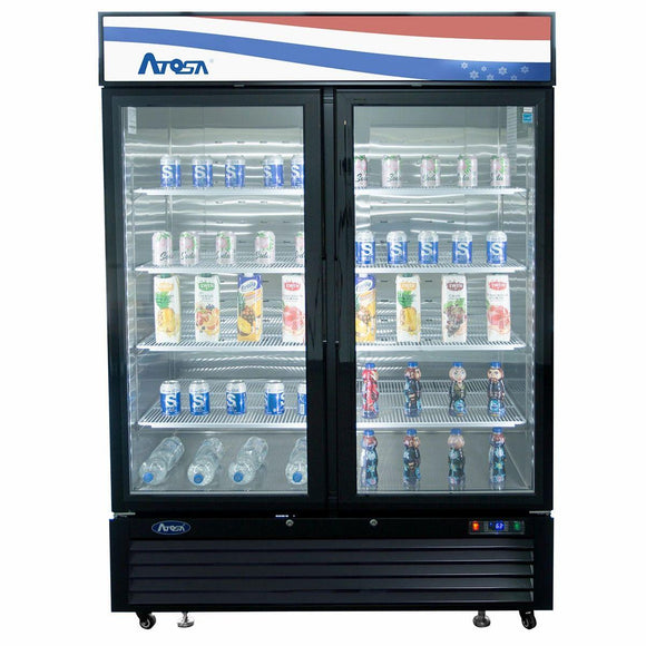 Atosa USA MCF8723GR Glass 2-Door Merchandiser Refrigerator 43.95 cu. ft.