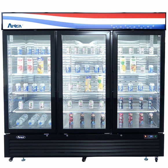 Atosa USA MCF8724GR Glass 3-Door Merchandiser Refrigerator 69.54 cu. ft.